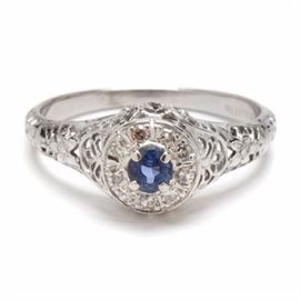 """1920s Bluite 18K White Gold Natural Blue Sapphire Diamond Ring: A 1920s 18K white gold natural blue sapphire and diamond ring by Bluite. This vintage ring was marketed by Goldfarb & Friedberg, Inc. of New York. The company's trade name Bluite claimed that their 18K gold was the """"nearest color to Platinum yet attained"""" according to a vintage advertisement."""