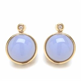 Pair of 14K Yellow Gold Dyed Chalcedony Diamond Earrings: A pair of 14K yellow gold post earrings featuring bezel-set dyed chalcedony stones, each topped by a diamond.