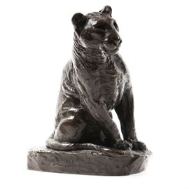 "Posthumous Bronze Casting of Roger Godchaux's ""Lionceau Assis"": A posthumous bronze casting of Lionceau Assis after Roger Godchaux (1878 – 1958). This piece was published by the Susses Fres foundry and bears its seal to base. This petite bronze casting depicts a seated lion cub. It is signed to mold."