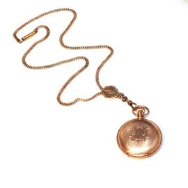 Circa 1894 14K Yellow Gold Elgin Pocket Watch and Chain: A circa 1894 Elgin 14K yellow gold pocket watch and chain with slide.
