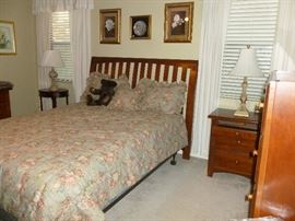 headboard and mattress, night stand, cute round table, lamps