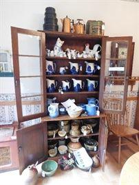 sleepy eye, stoneware, copper, advertising tins, yelloware, spatterware, spongeware, antique clocks,cocks