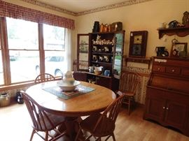 DSCN8502 5349RobinsonSale, Amish handmade oak table w/ chairs, antique roll top kitchen cabinet, advertising, antique cupboard w/glass doors