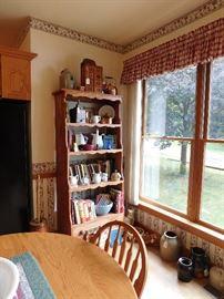 antique cookbooks, crocks, stoneware, spice box, ironstone, butter churn