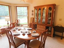 Oak oval table chairs and leaves, matching china cabinet, reproduction apothecary cabinet & server