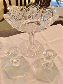 Glass dish tall w candleholders