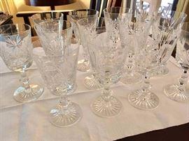 Set of crystal wine glasses