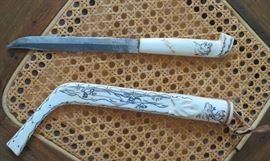 hand carved/painted bone knife