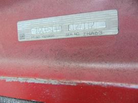 Label information on the Chevy S10 Hood