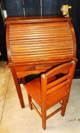Vintage Children's Roll Top Desk and Chair