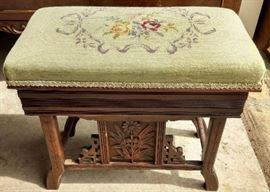 Antique Needlepoint Sewing Stand