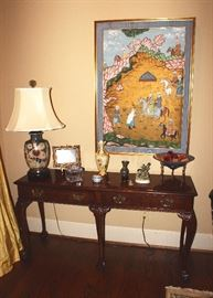 Console Table, Lamps, Vases, Artwork