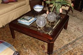 Coffee Table, Books, Crystal Rose Bowls