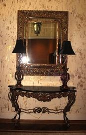 Iron Entry Table, Mirror, Lamps