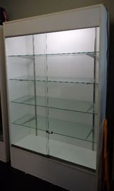 Lighted Double Glass Door Display Cabinet White