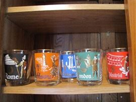 Vintage Libbey cities from around the world rock glasses