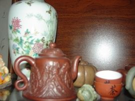Asian Vase, Teapots, Saki Cups Etc