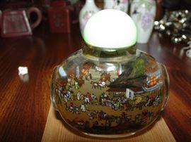 Vintage Painted (inside) perfume bottle with Jade top