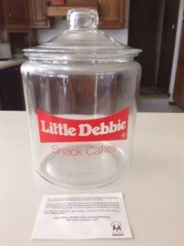 Little Debbie Snack Cakes Glass Store Cookie Jar Counter Display Vintage