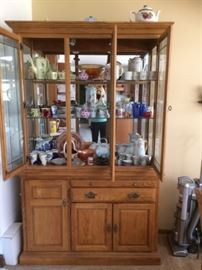 Oak Hutch with silverware drawer glass shelves and storage (items inside sold separately)