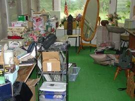 Oak Dressing mirror, lots of boxed items