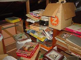 Tons of Vintage games, craft kits,photos, framed art, craft kits