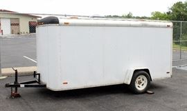 US Cargo Enclosed General Cargo Trailer With Drop Down Ramp and Side Door, VIN# 1PL500E11T1002554, KANSAS TRAILER