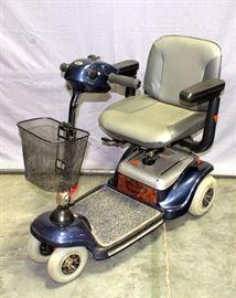 Shoprider Sunrunner S Compact Scooter, Aerodynamically Designed, Articulating Wheels, Flat Free Tires, Slide & Swivel Seat, 5 Position Tiller