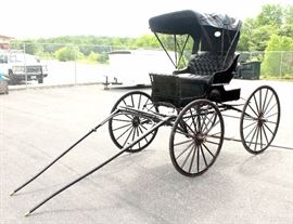 """Antique Doctor's Buggy Horse-Drawn Carriage, Completely Restored, Stored Inside Since Restoration, 104""""L (w/o Shaft) x 66""""W x 89""""H"""