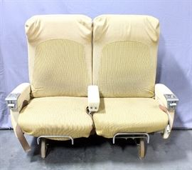 """Pair of Original Boeing 747 Seats, Armrest Ashtrays, Seat Belts, Came from Old Overhaul Facility at KCI-TWA, 51""""W x 42""""H x 25'D"""
