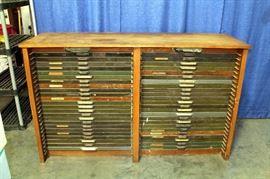 "Hamilton MFG Co Oak Printers Cabinet, 50 Printers Trays / Drawers, Most Drawer Pulls Marked ""Hamilton"", Light Sockets, 71""W x 44""H x 23""D"