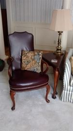 maroon leather arm chair