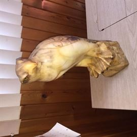 Solid marble eagle sculpture