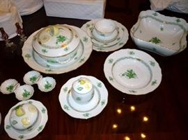 Herend China in the Green Chinese Bouquet Pattern - Service for 12