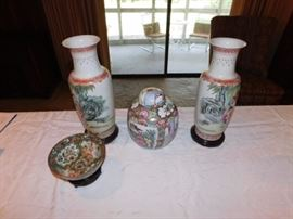Oriental vases,dish and urn