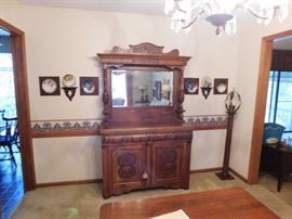Antique Oak buffet with original hardware 77 by 47