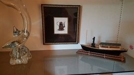 decorative glass, boat, picture