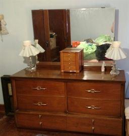 Dresser, mirror, lamps, jewelry box