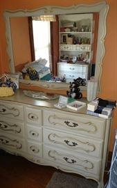 White dresser and mirror, tea pot set, jewelry