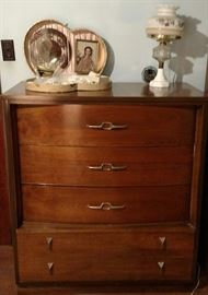 Dresser, lamp, vintage box and picture