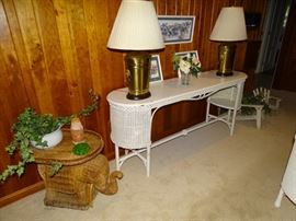 Wicker sofa table, wicker elephant end table, Frederick Cooper lamps.     ELEPHANT TABLE SOLD.  PAIR OF LAMPS ARE SOLD.
