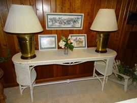 Antique wicker sofa table, Frederick cooper lamps.