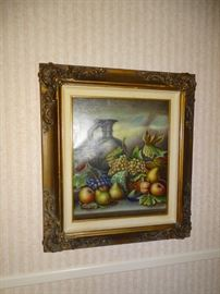 "Signed Namian ""Autumn Harvest"" oil painting."