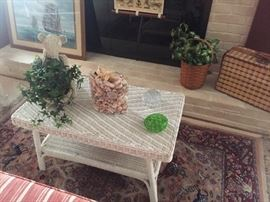 Wicker coffee table.