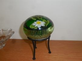 """Paperweight by Rick Ayotte - """"Spotted Frog with Pond Lily"""""""