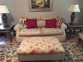 Sofa, Ottoman Coffee Table, 2 Matching End Tables, 2 Lamps, Art Work, Area Rug