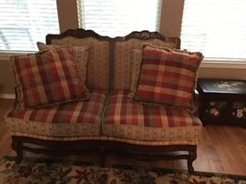 Rush Seat French Provincial Settee