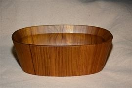 Rare Dansk oval teak wood bowl by reknown artist Jens Quistgaard.  The artist name is on the bowl. Both 1stdibs and Amazon Prime have their bowl priced quite high.