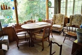 KITCHEN TABLE AND CHAIRS AND WING BACK CHAIRS
