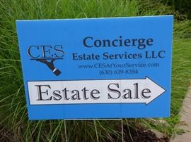 "Look for our blue ""Concierge Estate Services"" signs."